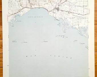 Antique Salinas, Puerto Rico 1945 US Geological Survey Topographic Map - Jauca, Polbado Peñuelas, Arenal, Las Marías, Jagua, Mar Negro