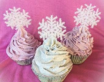 Shimmering Snowflake Fake Cupcake Set