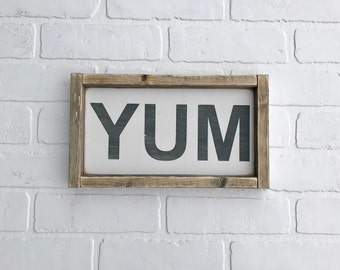 "YUM Sign | 7"" x 12.5"" | framed wood sign | farmhouse decor | farmhouse sign | kitchen sign"