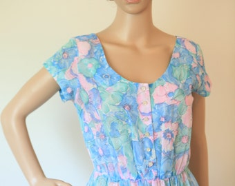 Women's Cotton Dress Summer Floral 1970s 1980s Medium Blue