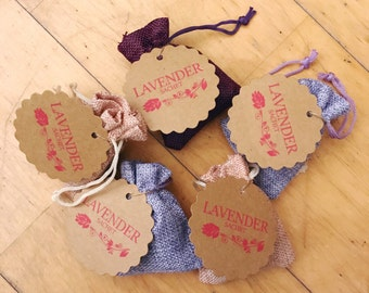 Small Lavender Sachets - Set of Five - Random Colors - Gifts, Stocking Stuffers, Shower & Wedding Favours