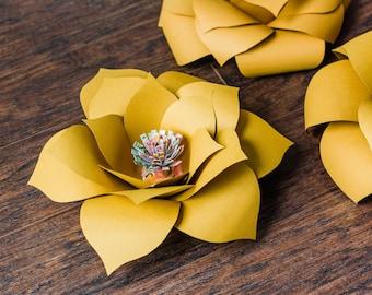 Set of 3 Jumbo Large Cardstock Paper Flower Kira Bloom Wedding Bridal Nursery Shower Decor Mustard Yellow