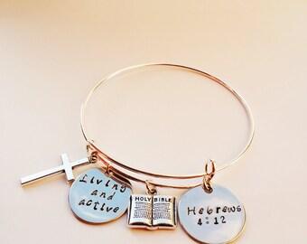 Hand stamped bracelet,Hand stamped bible bracelet,Personalized gift,Scripture bracelet,Handstamped cuff bracelet,Scripture bracelet,initials