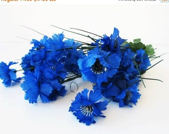 SALE 10 Blue Cornflower Branches Each 7 Blossoms With Leaves Artificial Flowers Silk Bluebottle Green Black Faux Fake Simulation DIY Wedding
