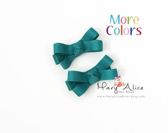 """Small Hair Bow Set- 1.75"""" Girls Hair Bow, Toddler Hair Bow, No Slip Alligator Clip for Baby Girl- Made to Order"""