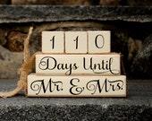 Custom Wedding Countdown Blocks, Rustic Wedding, Days Until Mr and Mrs