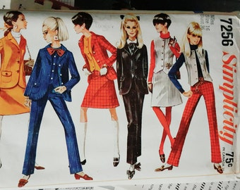 1967 Simplicity 7256 Size 16 Misses Jacket, Vest, Skirt and Pants Uncut FF Sewing Pattern ReTrO GrOOvy!