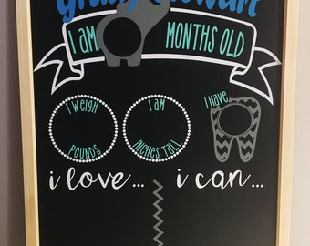 Baby Grow Up Chalkboard-First Year (Elephant)
