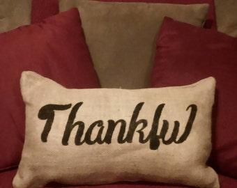Burlap Thankful Pillow, Burlap Fall Pillow, Burlap Thankful Pillow, Thankful Pillow, Primitive Pillow, Fall Pillow, Thanksgiving Pillow,