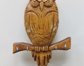 Handmade Key Holder For Wall Owl Key Holder Wooden Key Hanger Keys Hanger Wood Owl Wall Key Hanger Key Rack Car Key Jewelry Hangers