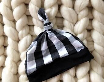 baby beanie - Top Knot Hat - Baby beanie - White Buffalo Plaid