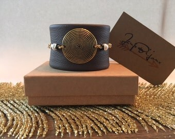 Brown leather Cuff Bracelet.