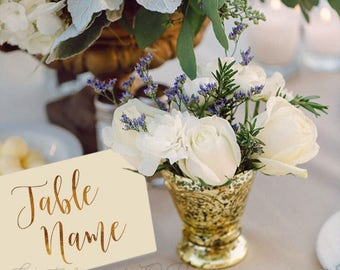 Custom Table Name Cards - Wedding Table Numbers - Gold Foil Table Numbers - Gold Table Cards - Elegant Decor - Wedding stationery