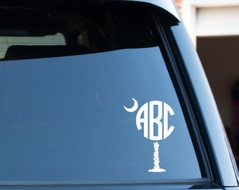 Customize Palm Tree Monogram Circle Font Car Window Decal