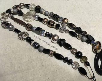Love and Peace Black Pendant Necklace Bohemian Gypsy Jewelry Silver Black Grey Agate Gemstones Crystals Shamballa Skull Hematite Jewellery