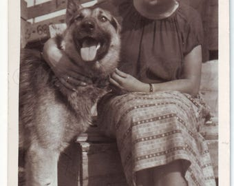 Vintage Photo - Woman Photo - German shepherd - Woman with dog - Vintage Snapshot - Polish Photo - Dog photo - 1950s photo