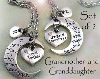 Grandmother Granddaughter Set of 2 I Love You to the Moon and Back  Grandmother & Granddaughter Necklaces Personalized w-Letter Charms