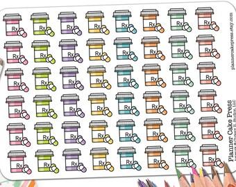 48 Pill Bottle Stickers | Prescription Refill Reminder Stickers | Rx Stickers | Medicine Planner Stickers | Fits Erin Condren Any Planner