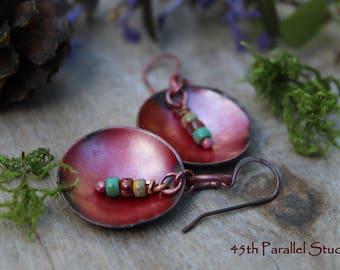 Red Patina Copper Earrings, Beaded Copper Earrings, Patina Earrings, Copper Earrings, Boho Earrings, Red Earrings, Rustic Earrings, Hippie