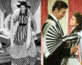 Custom Made Gone With the Wind Striped Victorian Day Dress