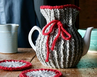 Grey ripple teapot cozy