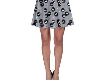 Soot Sprite Skirt -Cartoon Skirt Cosplay Skirt Totoro Skirt Anime Skirt Ghibli Skater Skirt Spirited Away Skater Skirt Oddity Apparel