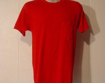 T-shirts, vintage 1980s, pocket t-shirt, red, large