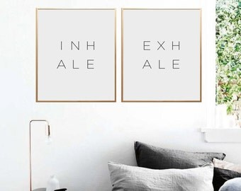 Inhale Exhale Print, Inhale Exhale, Bedroom Wall Art, Minimalist Print, Typography Print, Inhale Exhale Poster, Yoga Wall Art, PRINTABLE