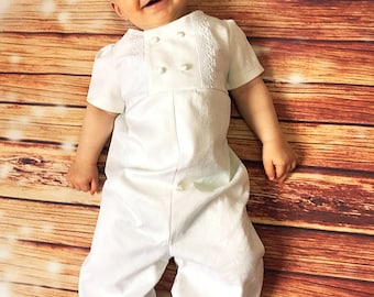 Baby boy's christening outfit, white church suit, baptismal boy's suit, infant baptism romper, baptism boy's outfit, boy's white romper