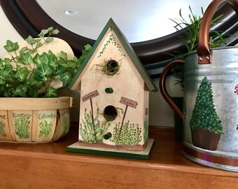 Rustic Herb garden design wooden birdhouse decoration.