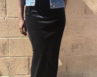 Fitted Velvet Maxi Skirt