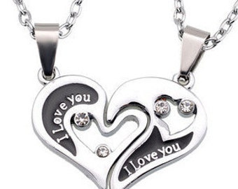 """Silver & Crystal 2 Piece """"I Love You"""" Inscribed Heart Necklace NK4062i"""
