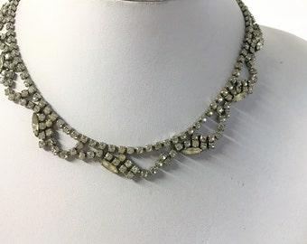 A Beautiful Vintage Diamante Necklace - Retro, Bridal Jewellery