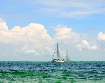 Sailboats sailing in the beautiful waters of the florida keys