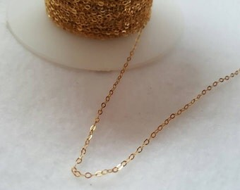 14k Yellow Gold Cable Chain 1.32 x 1.95 mm  Flattened