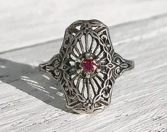 Edwardian Revival Antique Pink Diamond Sterling Silver Filigree Promise Engagement Ring Size 5.25