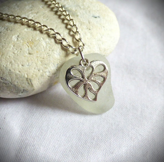 Seaglass Heart, Valentines Pendant, Sea Glass Necklace, Romantic Gift, I Love You, Beachglass Romance, Valentine's Jewellery - PC17032