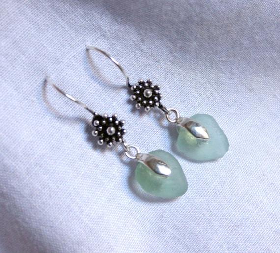 Seaglass Earrings, Seafoam Ear-Rings, Sea Glass Jewelry, Sterling Silver, Silver Earrings, Beachglass Earrings, Seaglass Jewellery - EI17001