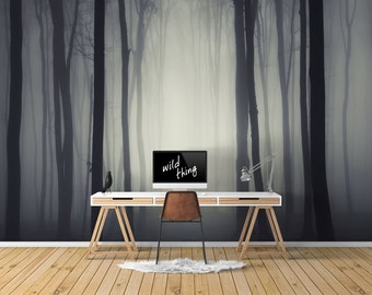 Dark Forest Wallpaper, Printed, Wall Decor, Removable Wallpaper, Forest, Enchanted, Mysterious