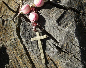 religious Jewelry/ Cross Necklace/ Christian Jewelry/ Faith Necklace/ Beilieve Necklace/ beaded necklace/ Free Shipping