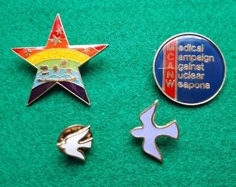 Vintage Peace Dove CND Enamel Hollywood Badges