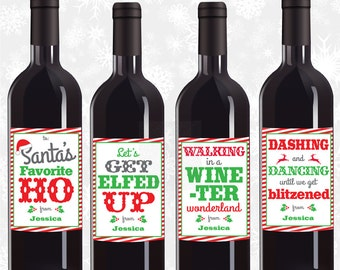 Personalized Wine Labels, Christmas Wine Labels, Funny Wine Stickers