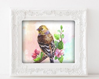 Brown Bird Poster, Bird Artwork, Brown Bird Watercolor Art, Vintage Bird Art, Digital Download, Instant File, Bird Wall Art