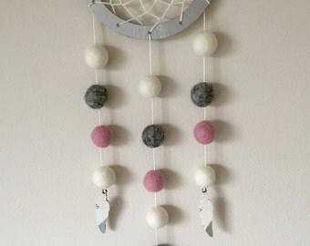 Felt ball dreamcatcher, Hygge Decor, Pink white grey, Boho decor, Wood feathers, wall hanging, nursery decor, new baby gift, kids room decor