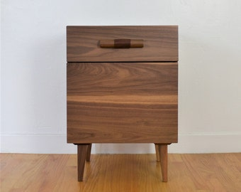 Walnut Nightstand with Leather Pull & Accessory Drawer