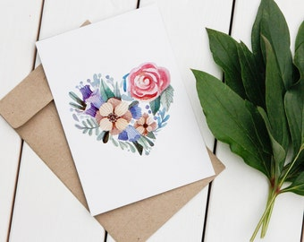 Love Greeting Card | Heart Greeting Card | Floral Greeting Card | Love Card | Printable Card | Digital Card | Heart | Love | Card | Digital
