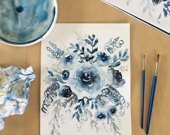 Watercolor Flower Painting, Flower Bouquet, Blue Roses, Watercolor Rose, Watercolor Floral, Original Painting,Floral Painting,Blue Floral