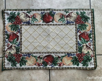 Woven Tapestry Placemat Table Decor Vintage Tapestry Mats Wall Hanging Fruit Motif Retro Fruit Pattern Doily Center Table Country Folk