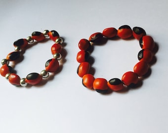 Good Luck Bracelet Huayruro Seed Handmade Red Black Handmade Peru Jewelry
