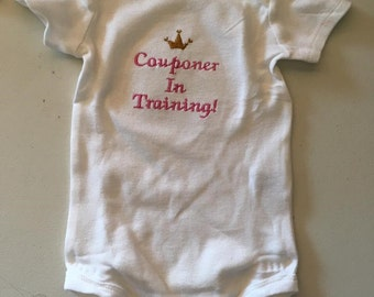 Couponer In Training! Embroidered Onesie Keepsake Personalized